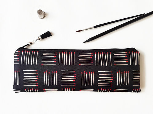 Matchsticks print,crochet gift,crafters gift,hook storage,needle bag,pencil case