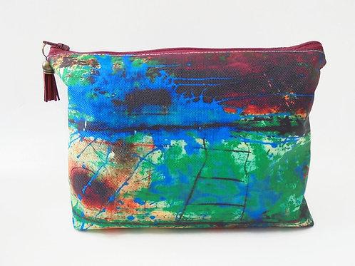 Dumpy Wash bag, Rusty art bag, green wash bag, cosmetic bag, zip bag
