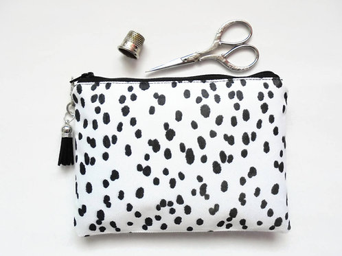 Dalmation print, dotty, black and white, sewing pouch, zipper wallet, cometic ba