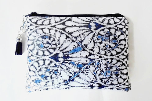 Indigo navy floral print vegan vinyl zipper wallet bag.