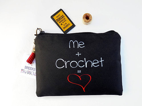 Canvas Pouch, crochet,sewing pouch,crafters gift,art gift,student gift,coin pur