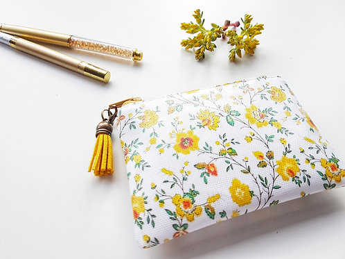 Yellow 40s floral vegan small wallet, animal freindly gifts.