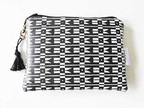 Monochrome print vegan vinyl zipper wallet, monochrome pouch.