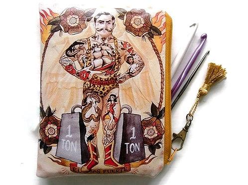 Strong man, vegan faux leather zipper pouch wallet.