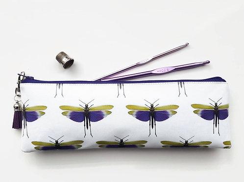 purple,ultra violet,grasshopper,entomology,green gift, brush bag, crochet storag