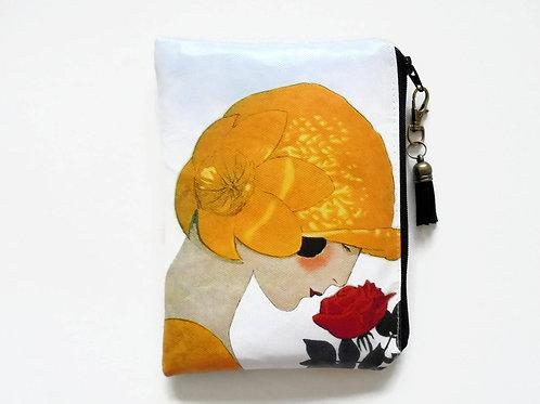 Flapper girl with flower vintage style vegan vinyl wallet.
