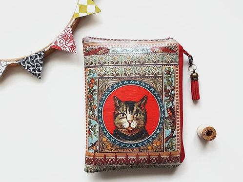 Cat wallet,cat fabric,cat gift,feline gifts,vegan leather cat wallet,vegan gifts
