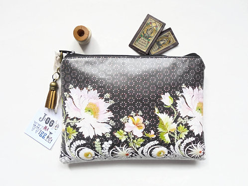 Eco gift, waterproof wallet, border floral pouch, waterproof bag, eco friendly,