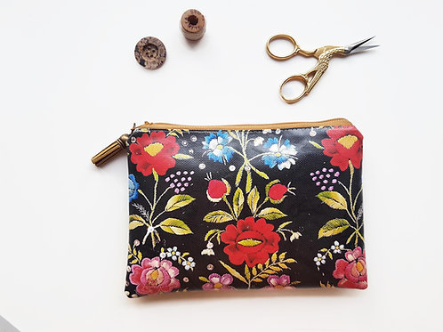 Embroidery Print vegan wallet.