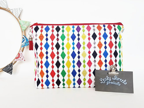 Large colourful washbag,harlequin cosmetic bag,large zipper pouch,colour pop