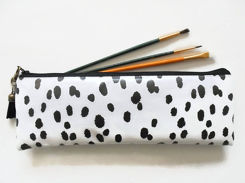 Dalmatian print, brush bag, crochet storage