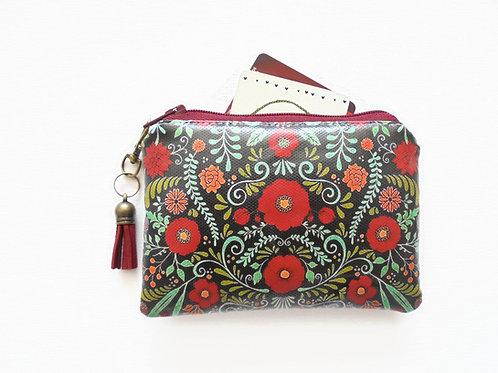 Folk florals, red wine credit card wallet in vinyl.