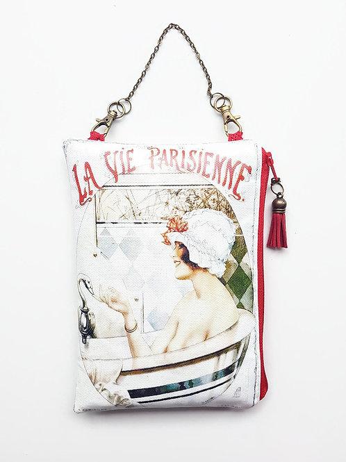 French Hanging Bag, vegan vinyl zipper wallet.