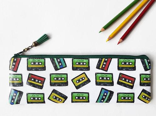 Art gifts, Waterproof Pencil Case, cassette tape print, retro print fabric,vegan