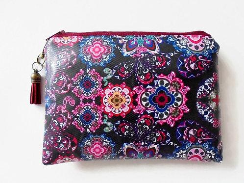 Boho pouch, bohemian wallet vegan vinyl zipper bag.