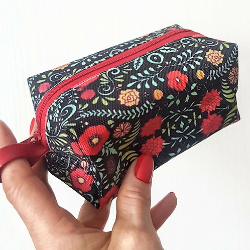 Red folky travel pouch