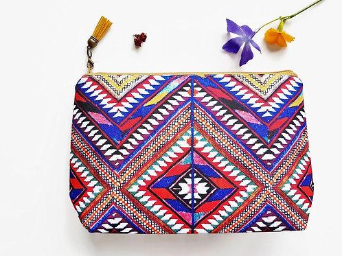 Canvas Wash bag, aztec print, tribal Dumpy bag, cosmetic bag,make-up bag.