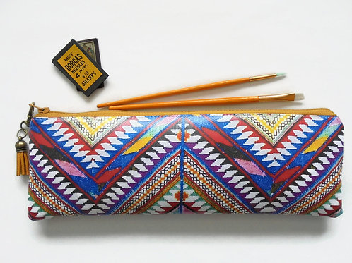 Aztec tribal vegan faux leather pencil case.