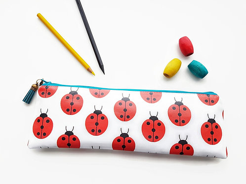 Turquoise and Red pencil case,Vegan pencil, brush pouch.