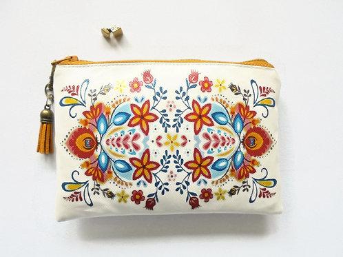 Folky print vegan vinyl zipper pouch wallet.