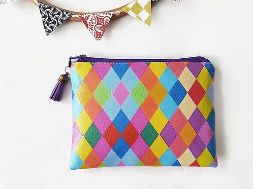 Faux leather wallet,harlequin print,eye candy pouch,vegan gift idea,zipper walle