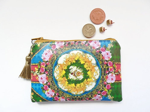 Flowers print vegan card wallet, small faux leather zipper coin purse.