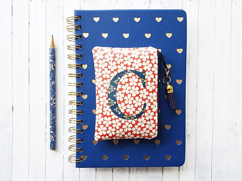 Monogrammed card wallet or childrens coin purse.Red and Navy floral.