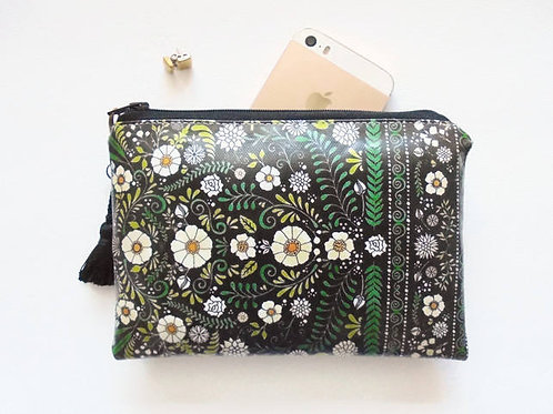 Forest green folky vegan leather coin purse.