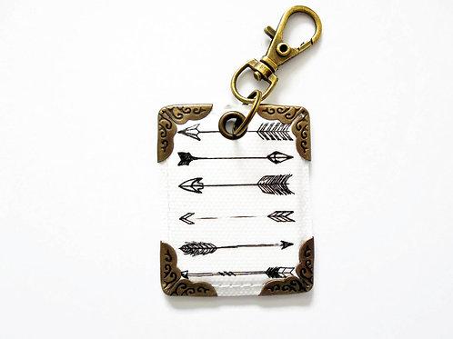 Arrows keychain, keyring, bag tag, key tag, purse charm, arrows, monochrome.
