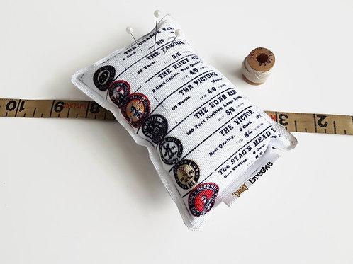 cotton reels pin cushion,Canvas Pin cushion,seamstress, tailor, crafter