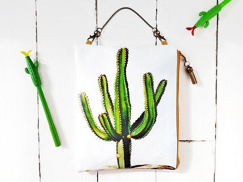 Cacti large hanging bag,vegan pouch.