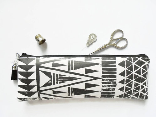 Art gifts, Waterproof Pencil Case, Aztec, Navajo, monochrome, arrows brush bag,
