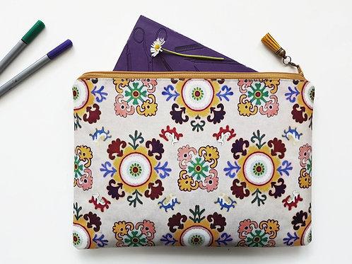 Bohemian wash bag,boho travel bag,gypsy cosmetic bag, zip bag, make up bag