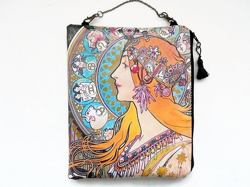 Art Nouveau hanging bag, vegan vinyl zipper bag.