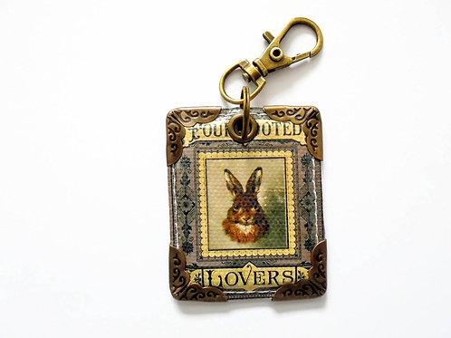 Rabbit lover keyring, bag tag, key tag, purse charm, arrows, monochr