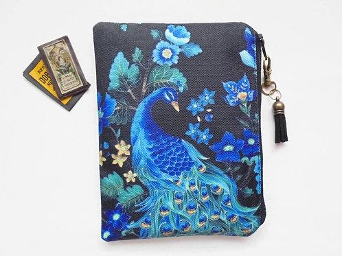 Peacock print, sewing pouch, zipper wallet, cometic bag, zipper wallet