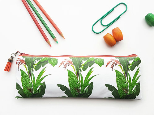 Spiced orange and Leafy pencil case, water resistant outer vegan XLong brush bag