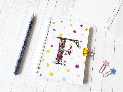 Personalised A6 Notebook Stars & Floral with matching bulldog clasp.