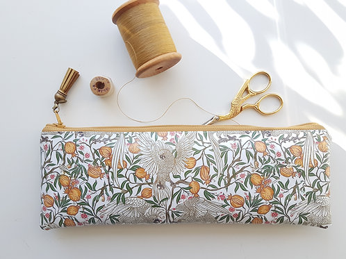 Pretty Bird pencil case,Vegan pencil, brush pouch.