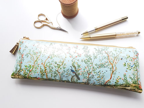 Chinoiserie pencil case,Vegan pencil, brush pouch.