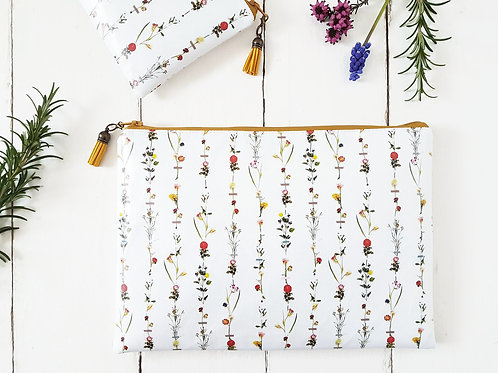 flower stems, botanical, toiletry bag, make-up pouch, eco friendly, cosmetic bag