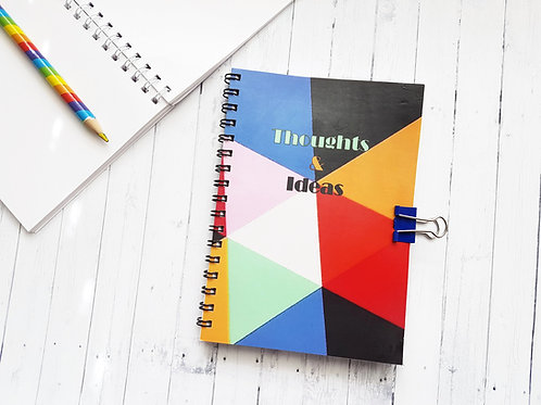 A6 Colour Block, Thoughts & Ideas pocket pad with matching bulldog clasp.