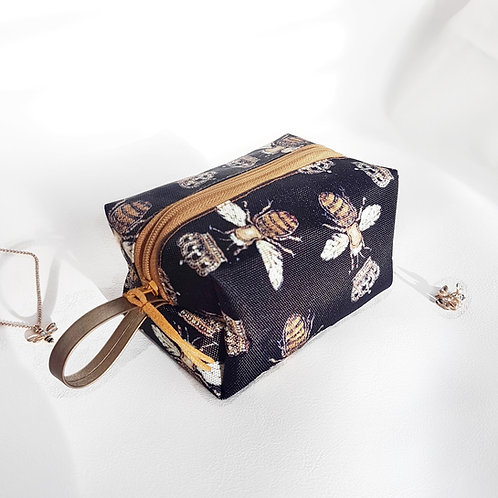 Gold Bee print, handy pouch.
