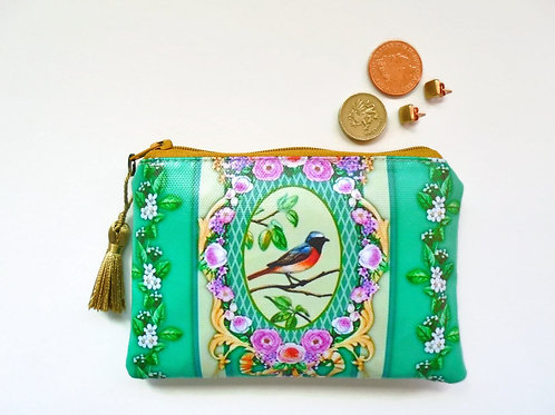 Bird print vegan credit card wallet, zipper pouch in faux leather.