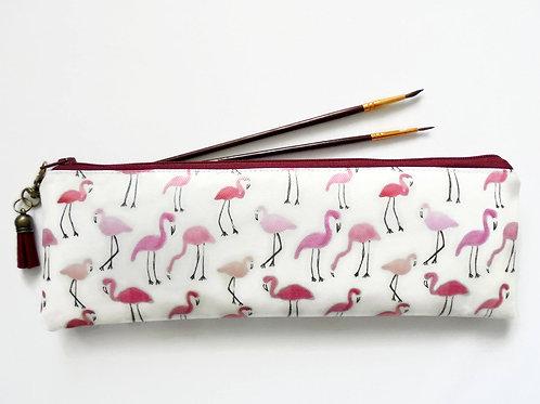Flamingo print, birds, pink, brush bag, crochet storage, pen pouch, pencil bag,