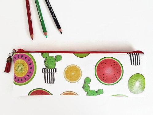 Pencil Case, cacti,melon,oranges,lemons,kiwi print, vegan leather, brush bag, cr