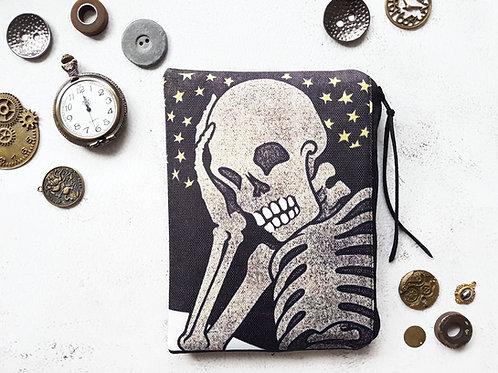Skeleton, halloween print, canvas pouch, zipper wallet, cometic bag, zipp
