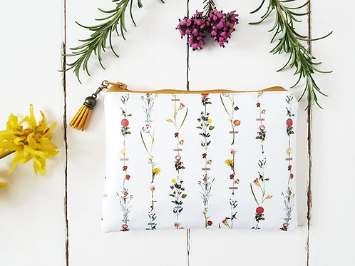 Botanical inspired print, flower stems, vegan leather, eco gift, zipper pouch.