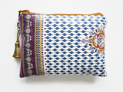 Indian inspired vegan vinyl zipper wallet.