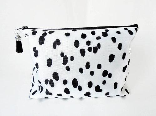 Dumpy Wash bag, Dalmatian print, Boxy bag, cosmetic bag, zip bag, make up bag.